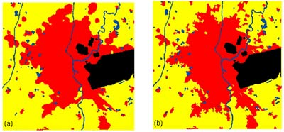 Comparison of simulated (a) and actual (b) growth for Saharanpur city, India
